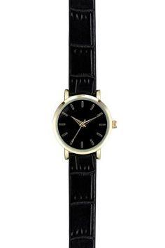 Black Croc Texture Strap Watch