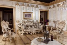 Bed In Living Room, Classic Living Room, Living Room Decor, Dining Room, Luxury Sofa, Luxury Living, Luxury Interior Design, Interior Design Kitchen, Sofa Set