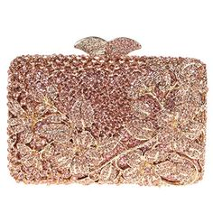 Fawziya Kisslock Flower Purses With Rhinestones Crystal Clutch Evening Bag-Rose Gold ** To view further, visit Evening Bags, Evening Clutches, Barrel Bag, Wedding Clutch, Beaded Bags, Cute Bags, Beautiful Bags, Clutch Wallet, Purses And Handbags
