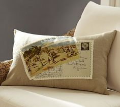 Beach Umbrella Postcard Applique Lumbar Pillow Cover #potterybarn...so cute!.....maybe I can make one of my own????