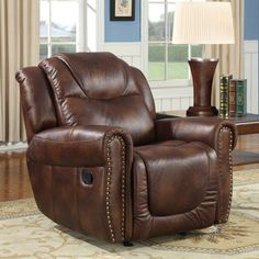 @Overstock - Witiker Brown Faux Leather Rocker Reclining Chair. Add a touch of luxury and comfort to your home with this beautiful Witiker Brown Faux Leather Rocker Reclining Chair. This chair features a soft, plush foam upholstery fill and a durable faux leather upholstery.http://www.overstock.com/Home-Garden/Witiker-Brown-Faux-Leather-Rocker-Reclining-Chair/6581239/product.html?CID=214117 $424.99