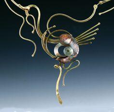 fine art jewelry, fine art necklace, wrought iron jewelry, wrought iron necklace, iron jewelry, iron necklace, silver art jewelry