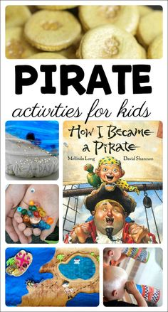 A collection of activities for a kindergarten or preschool pirate theme. Includes ideas for pretend play, snacks, literacy, arts and crafts, and science. science for preschoolers preschool activities preschool crafts kindergarten Preschool Pirate Theme, Pirate Activities, Preschool Learning Activities, Preschool Activities, Preschool Kindergarten, Summer Themes For Preschool, Summer Activities, Summer Daycare, Preschool Teachers