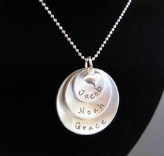 Hand Stamped Jewelry - Personalized Necklace - All My Children Three Layered Sterling Silver Charms. $52.00, via Etsy.