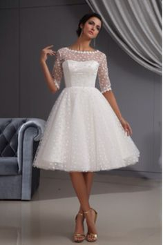Capped Sleeves Scalloped Bateau Knee-length Lace Wedding Dress ...