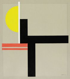 Komposition mit gelber Halbscheibe, 1926. Walter Dexel (1890-1973)  was one of the outstanding personalities of Constructivism in the 1920s. After the First World War, in 1918, Dexel became the head of the exhibition department in Jena where he organised exhibitions with Campendonk and later with Bauhaus artists like Moholy-Nagy