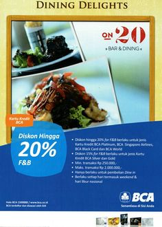 Time almost over, so do this promo! Dining Delight special privilege by @KartuKreditBCA up to 20 % off. Let's get dine. Valid untill September 31th, 2015.  #on20makassar | on20makassar.com