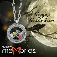"Halloween themed ""Butterfly Memories"" by Butterfly Silver Butterfly Jewelry, Body Jewellery, Lockets, Halloween Themes, Sterling Silver Jewelry, Christmas Bulbs, Women Jewelry, Memories, Holiday Decor"