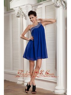 Beaded Peacock Blue Empire Prom / Homecoming Dress One Shoulder Chiffon Beading Mini-length- $105.19  http://www.fashionos.com  This lovely cocktail number would make a great prom dress. The asymmetrical neckline is flattering and has gorgeous beading throughout the trim. Soft ruching works from bust all the way to smooth skirt. A seductive mini length skirt will have heads turning the moment you arrive.Such a perfect dress, why not bring it to your party!