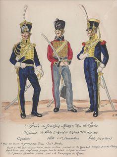 """Capitano e """"Vélites"""" del reggimento """"Vélites"""" a cavallo della guardia reale del regno di Murat"""