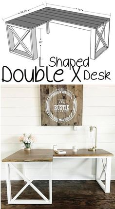 Plans of Woodworking Diy Projects - Plans of Woodworking Diy Projects - How TO : DIY Office Desk L Shaped - Woodworking Plans Get A Lifetime Of Project Ideas & Inspiration! Get A Lifetime Of Project Ideas & Inspiration! Diy Office Desk, Wood Diy, Home Projects, Diy Desk, Diy Furniture, Home Diy, Woodworking Projects Diy, Diy Woodworking, Diy Office