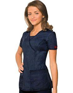 Dickies New Blue Junior Two Pocket Mock Wrap Nurses Scrub Top Item view details - Scrubs Outfit, Scrubs Uniform, Spa Uniform, Stylish Scrubs, Green Scrubs, Cute Scrubs, New Blue, Greys Anatomy Scrubs, Medical Scrubs