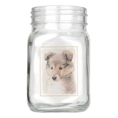 Shetland Sheepdog Puppy Mason Jar - mason jars gifts ideas presents