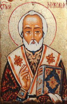 Small Orthodox Hand Painted Tempera Wood Icon Saint Nicholas | eBay