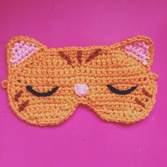 Sweet sleepy #kitty #cat sleeping mask. Crocheted with love! I will add a gold elastic band. 100% soft acrylic. #eyemask