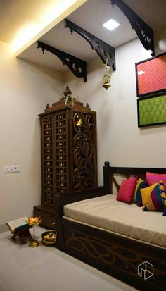 Discover Best Indian Traditional Bedroom Decor Number It is possible to find different varieties of sherwanis here with a choice to pick the sort of botto. Ethnic Home Decor, Indian Home Decor, Indian Bedroom Decor, Temple Design For Home, Home Design, Interior Design, Living Room Designs, Living Room Decor, Pooja Room Door Design