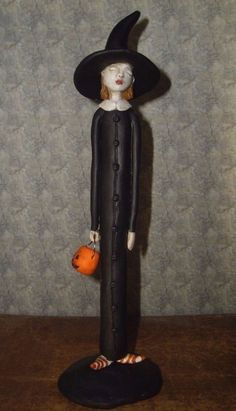 "Skinny witch OOAK polymer clay hand sculpted 8½"" art doll Willow by Toodlesocks"