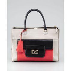 Diane von Furstenberg Eva Colorblock Tote Bag, Sand/Black/Coral ($545) ❤ liked on Polyvore