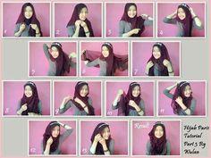 Tutorial hijab *square Tutorial Hijab Pesta, Hijab Fashionista, Niqab, Modest Fashion, Fashion Beauty, Hijab Styles, My Style, Shawl, Tutorials
