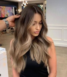 Brown Blonde Hair, Ash Blonde Highlights On Dark Hair, Brown To Blonde Ombre Hair, Highlighted Hair For Brunettes, Ash Brown Hair Color, Going Blonde To Brunette, Blonde Streaks, Hair Ideas For Brunettes, Light Brown Ombre Hair