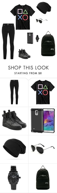 """""""College"""" by kaitlynpope77 on Polyvore featuring Topman, Bioworld, NIKE, rooCASE, FOSSIL, Stussy, men's fashion and menswear"""