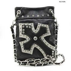 WESTERN Bling Crystals Cross Black Hipster Purse W/Full Hip Strap, $19.99