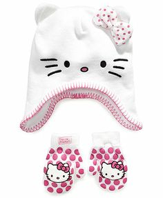 Hello Kitty Kids Set, Toddler Girls Cold-Weather Heidi Hat and Mittens Hello Kitty Clothes, Cool Baby Clothes, Top Toys, Baby Needs, Cold Weather, Mittens, Car Seats, Kids Fashion, Toddler Girls