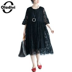 Oladivi Brand Clothing Plus Size Women Lace Dress Sexy Ladies Black Dresses Female Long Tunic Vestidios Femininos 2018 New – Women Shopping