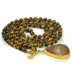 Tiger Eye & Agate Posh Mala - 108 tiger eye beads with gold spacer beads. Removable agate pendant on lobster clasp. Shop wearable yoga on our site!