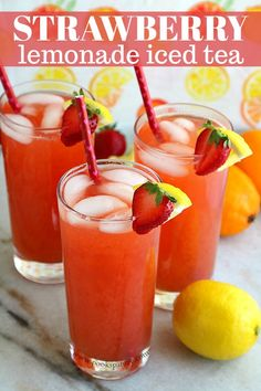 Strawberry lemonade iced tea, otherwise known as a Strawberry Arnold Palmer is one of my favorite summertime beverages. This mocktail is perfect for enjoying during the warm days of summer.   #arnoldpalmer #mocktails #lemonade #icedtea #strawberrydrink