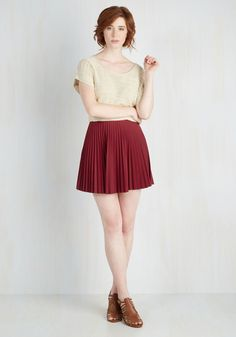 Accordion to You Skirt in Burgundy. You said it yourself - this accordion-pleated skirt has become an item you can't live without! #red #modcloth