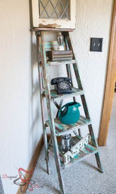home decor - Repurposed Ladder Shelf Shabby Chic Storage! Repurposed Furniture, Shabby Chic Furniture, Diy Furniture, Furniture Design, Painted Furniture, Shabby Chic Bedrooms, Shabby Chic Homes, Old Wooden Ladders, Shabby Chic Storage
