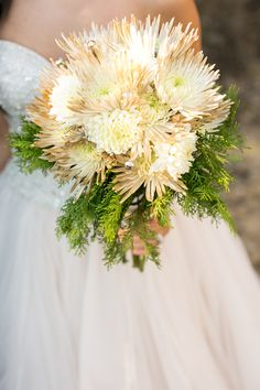 New Years Wedding Bouquet - Spider Mums Tipped in Gold With Gold & Silver Pyramid Studs & Seasonal Greenery by Fete & Frivolity Events