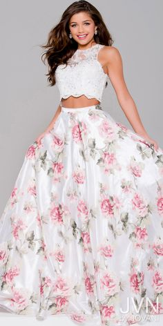 Floral Lace and Organza Two Piece Prom Dress from JVN by Jovani #edressme