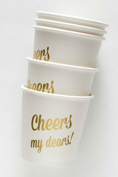 Sucre Shop Cheers My Dears! mini cups: http://www.stylemepretty.com/living/2015/11/04/disposables-that-look-better-than-the-real-thing/