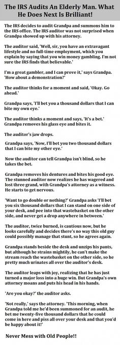 The IRS Audits An Elderly Man. What He Does Next Is Brilliant!