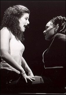 Maureen and Joanne in the original production, which debuted in 1996 with Idina Menzel and Fredi Walker as the two lovers. This picture is so hot of Idina! She was only 24 when she was cast as Maureen in 1996! So young. <3