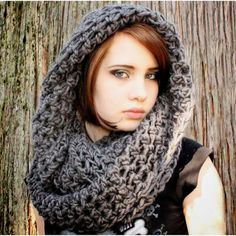 This seller has tons of awesome crochet items. The Favorite Cowl neck hood winter scarf Stormy Slate Grey. Ways To Wear A Scarf, How To Wear Scarves, Cowl Scarf, Cowl Neck, Slouchy Hat, Neck Scarves, Pink Grey, Trending Outfits, My Style