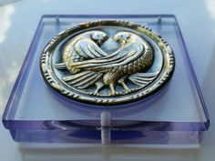 Vintage RARE Blue color Lucite and Sterling Silver dove birds powder compact.