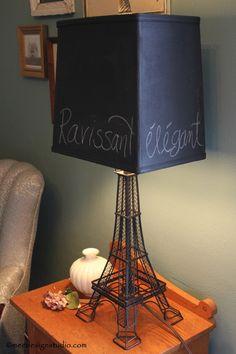 DIY Eiffel Tower lamp with chalkboard paint. home decor, interior design, DIY, lighting