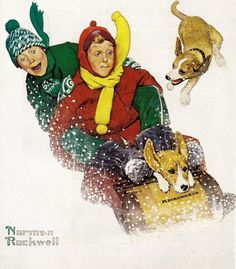 Sledding, art by Norman Rockwell.