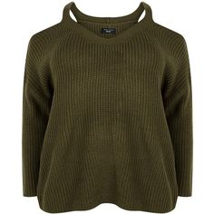 New Look Curves Khaki Cold Shoulder V Neck Jumper ($29) ❤ liked on Polyvore featuring tops, sweaters, multicolour, open shoulder top, khaki sweater, v-neck tops, brown sweater and cut out shoulder sweater