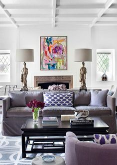 "8 rules to mixing color and pattern. Plus/ sofa table and lamps work as great room ""divider"". :)"