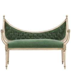 Colima Settee  at Found Vintage Rentals. Green velvet settee with wood frame perfect for photoshoots or romantic detail for lounge vignette.