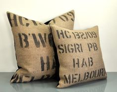 HAB - Small - Velvet and Burlap Coffee Sack Pillow Handmade by VelvetBean on Etsy
