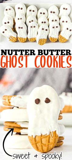 Ghost cookies made with Nutter Butters, candy melts, and chocolate chips are both super cute and super yummy. A perfect treat to make with the kids!