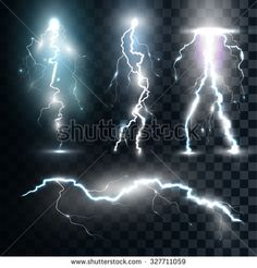 Set of the isolated realistic lightnings with transparency for design. Thunder-storm and lightnings. Magic and bright lighting effects. Natural effects - stock vector