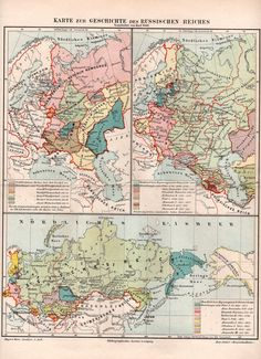 1897 Russian Empire Antique Map Russia St. by Craftissimo on Etsy, €12.95