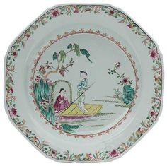 Par de pratos de sopa em porcelana Companhia das Índias..