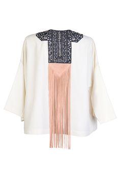 Fringed Leather Embellished Kimono